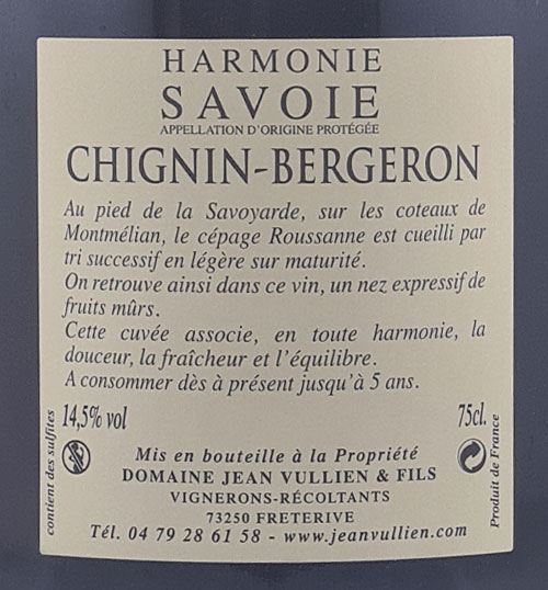 CHIGNIN BERGERON HARMONIE étiquette